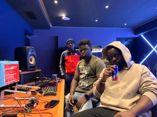 Sarkodie records with Possigee & MOG Beatz at the Red Bull Studios, UK